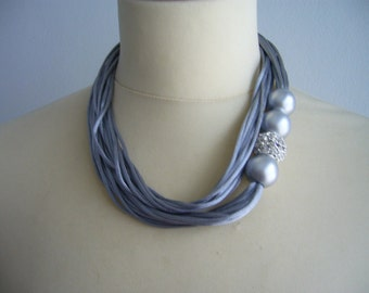 Rhinestones, satin and silver necklace, multi strand necklace