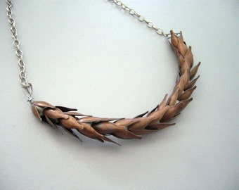 wheat necklace in antique copper