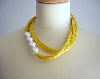 Yellow Satin cord and giant pearls necklace, multi strand necklace