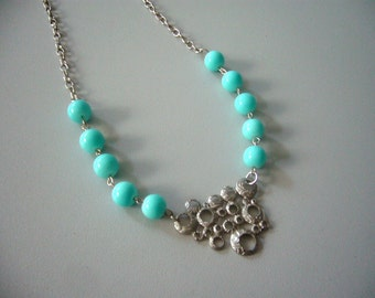 Aqua necklace with silver bubbles