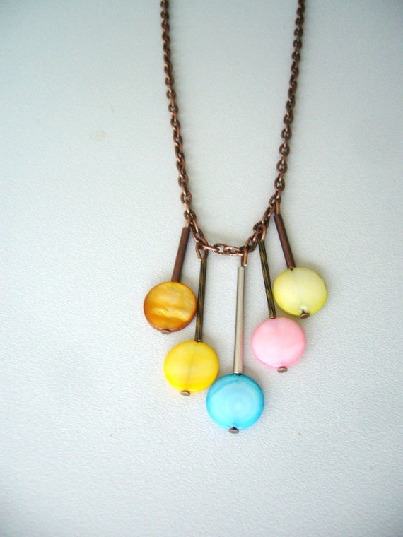 Balloons geometric necklace in yellow, pink, lime , turquoise