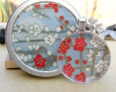 Wild Cherry Blossoms on Sky Blue - A Circle Glass Tile Gift Set