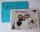 hilarious quirky sock monkey wedding card by Monkey Moments W3