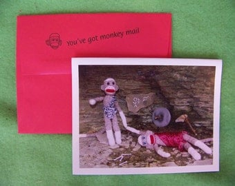 exclusive unique sock monkey Love/Valentine card by Monkey Moments H19