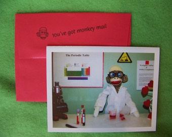 humorous sock monkey LOVE card by Monkey Moments H31