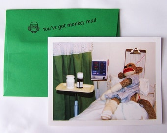 funny sock monkey Get Well card by Monkey Moments A11