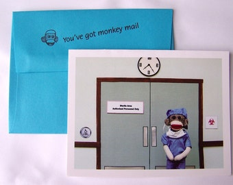 funny sock monkey Get Well card by Monkey Moments A24