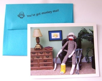 funny sock monkey get well card by Monkey Moments A29