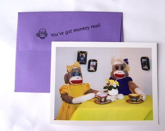 whimsical sock monkey Friendship Card by Monkey Moments A3