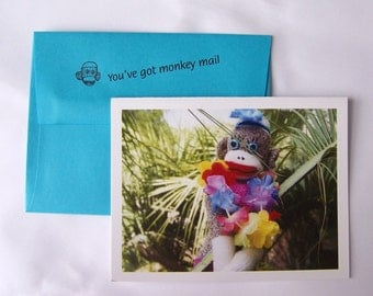whimsical funny sock monkey Thinking of You card by Monkey Moments A4