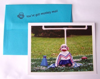 humorous sock monkey support card by Monkey Moments A25