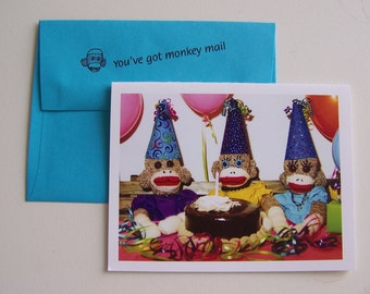 Monkey Moments Sock Monkey Birthday Card B3