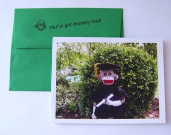 funny sock monkey Graduation card by Monkey Moments S4