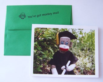 humorous sock monkey Graduation Card by Monkey Moments S5