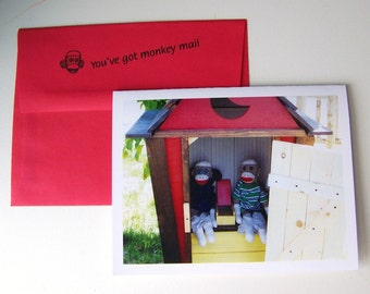funny sock monkey Anniversary Card by Monkey Moments S8