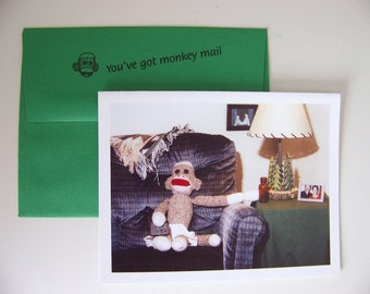 funny sock monkey Fathers Day card by Monkey Moments H6