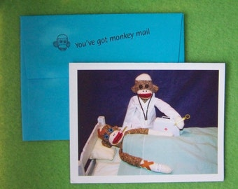 Monkey Moments Sock Monkey Get Well Card