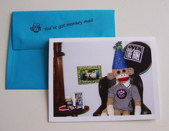 Funny over the hill birthday card by Monkey Moments B6