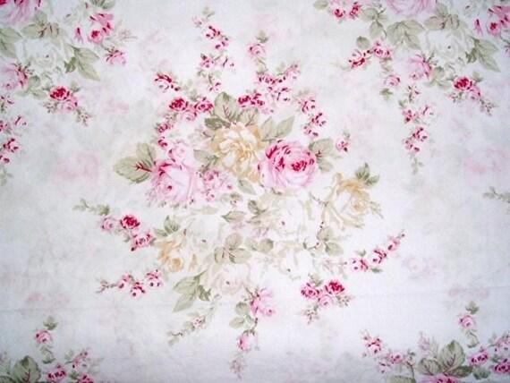 Rachel Ashwell Roseblossom White Pink Cotton Poplin Fabric - Shabby Chic Home Collection