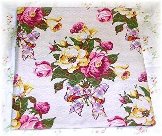 Pink Roses and Bows Vintage Barkcloth Bark Cloth Pillow front cotton fabric panel