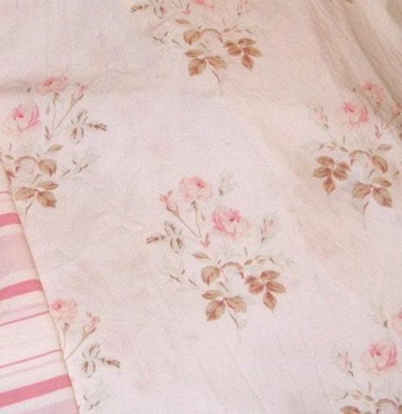 Rachel Ashwell Shabby Chic Primrose White Pink roses cotton poplin fabric