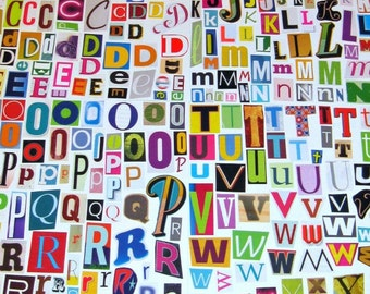 MultiColor Set 2 Printable Digital Alphabet, A to Z, Magazine Letters, Collage Letters, Ransom Note