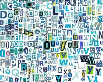 Printable Digital Alphabet - The Blues Series, A to Z, 1-10, Magazine Letters, Blue Letters, Ransom Notes