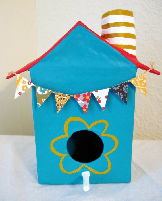 Clever Houses For Imaginary Birds-Holiday Bungalow, Paper Mache, Decorative Birdhouse