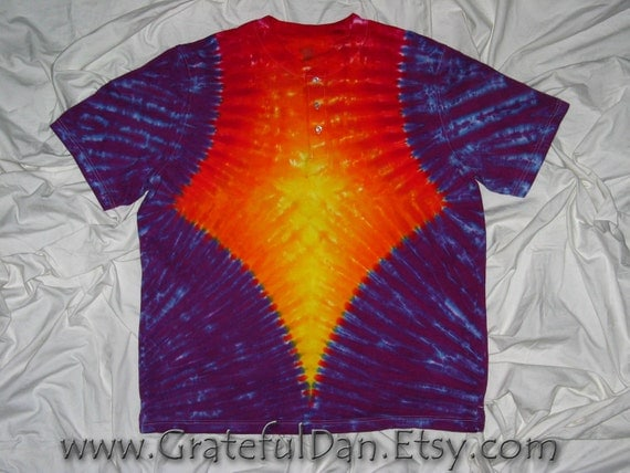 This is a 2XL Puritan Henley 3 button shirt Tie Dyed by GratefulDan (Ready to Ship)
