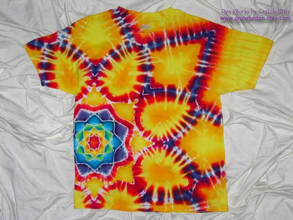 This is a Reserved Custom Order for Nealio - Large Beefy-T with side mandala - Tie Dye by GratefulDan