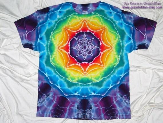XL Hanes Beety T with Mandala Star Design - Tie Dye by GratefulDan