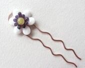 Hair stick - hair pin - Beaded Flower Hair Fork - Purple Amethyst gemstone OOAK - hair jewelry