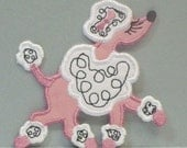 French Poodle Embroidered Clothing Applique DIY Patch Sew on-100017