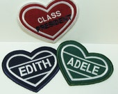Vintage Flair Heart Embroidered Applique Name Patch -100319