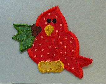 Baby Cardinal Embroidered Applique -100123