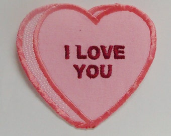 I Love You Conversation Heart Embroidered Applique-100210b