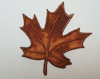 Fall Leaf Embroidered Applique Patch-100117a