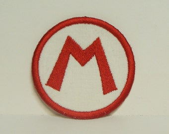 Mario or Luigi -Letter Patch- Circle Embroidered Applique Patch-100328