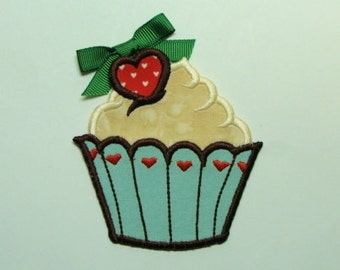 Chocolate Cherry Heart Cupcake Embroidered Applique-100338