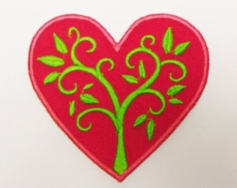 Tree Hugger Heart Embroidered Applique-100155