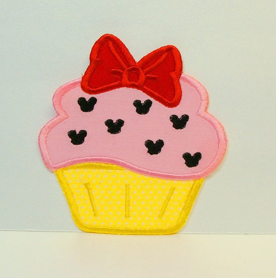 Mouse Ears with Bow Cupcake Embroidered Applique -100230