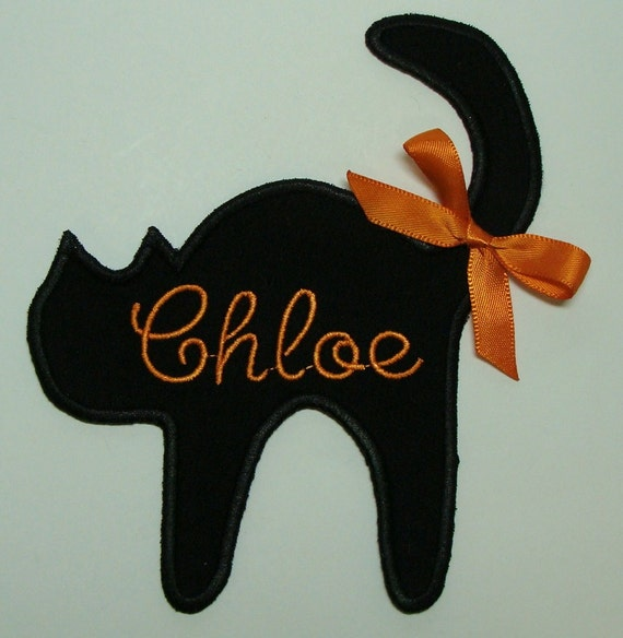 Black Cat Embroidered Applique Patch with Name-Sew on 100120