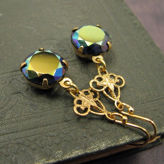 peacock colored dangle earrings with vintage glass and filigree