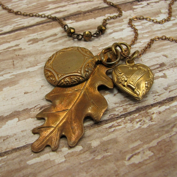 heart charm, oak leaf and pocket watch charm necklace - long necklace