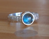 Blue Topaz Cabochon Silver Ring Made to Order in Your Size.