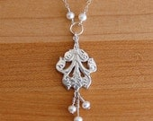 Acanthus Leaf Silver and Pearl Pendant Necklace