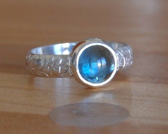 Topaz Cabochon Ring with Bezel Set Blue Topad in Your Size