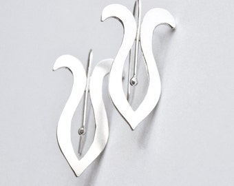 Handmade Silver Earrings Stylized Iris Style