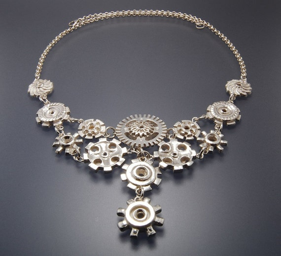 Silver Gears Industrial Steampunk Harley Chic Necklace