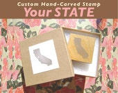 Reserved for Yasmin - Custom State Stamp - Rubber Stamp Hand Carved Wood Mounted - Any State Country w/ Heart or Star